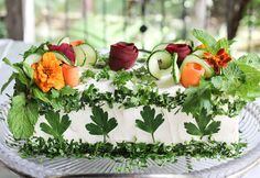 Sandwich Cake Garnished with Herbs