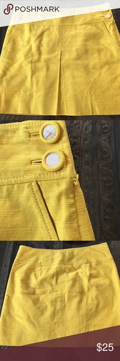 """J. Crew Mini Skirt Beautiful golden color. Cotton and Linen mini skirt with side buttons and slit pockets. Cute little slit in the front. Skirt is 18"""" from waist to hem. J. Crew Skirts Mini"""