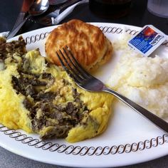 Waffle House Copycat Recipes--Cheese Steak Omelet    3 eggs  1/4 cup shredded cheese (your choice)  1/3 cup onion, chopped  4 slices Steak-ums  1 tablespoon butter