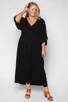 Cherry Blossom Dress in Plain Black (Plus Size) 86265b393292a