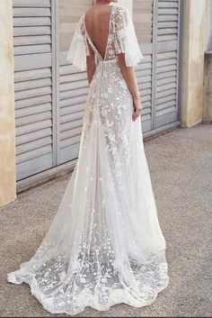 Boho V Neck Cap Sleeve Lace Beach Wedding Dress - Hochzeitskleid White Lace Wedding Dress, Wedding Dress With Veil, Elegant Wedding Gowns, White Wedding Dresses, Elegant Dresses, Bridal Dresses, Modest Wedding, Sexy Dresses, Summer Dresses