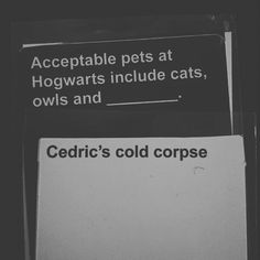An adult Harry Potter themed 'Cards Against Humanity' exists, so pass the butterbeer! Stupid Funny Memes, Funny Relatable Memes, Haha Funny, Funny Texts, Hilarious, Funniest Cards Against Humanity, Cards Of Humanity, Humanity Game, Harry Potter Texts