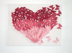 Create your own DIY butterfly heart artwork perfect for a nursery or child's room with our easy step-by-step guide. MATERIALS: 1 canvas 1 pencil A glue gun Scissors 4-5 sheets of pale pinkcardstoc...