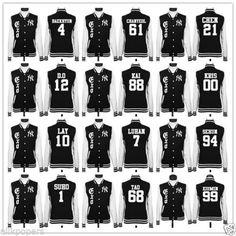 Luhan Xiumin Baekhyun Chanyeol Kris DO Jacket/Coat. ,where you will find thousands of k-pop, K-drama, kpop product, kpop stuffs. Dear Kpoper (kpop fans) from other land. Exo Merch, Baseball Uniforms, Baseball Jerseys, Baseball Players, Pops Concert, Xiuchen, Exo Korean, Baekhyun Chanyeol, Hip Hop Fashion