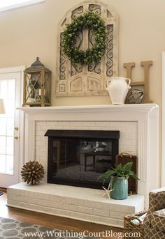 Hottest Photo Brick Fireplace mantle Popular 50 Fireplace Decor Will Make Your Home Warm – The Urban Interior Brick Fireplace Makeover, Fireplace Design, Fireplace Remodel, Farmhouse Fireplace, Farmhouse Decor, Farmhouse Style, Backyard Fireplace, Modern Farmhouse, Farmhouse Layout