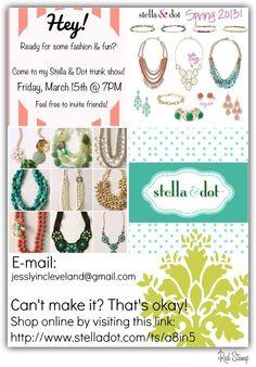 "will be Having a Stella & Dot ""Trunk Sale"" . Can't wait, such cute stuff!!"