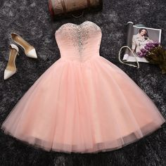 Strapless Sweetheart neck Blush Pink Homecoming Dresses,Short Prom Dresses,APD2424 - Thumbnail 2