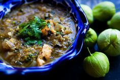 Tomatillo Chicken Stew - I make a variation of this, top it with monterey jack cheese and serve with focaccia bread on the side.