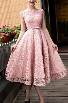 Lace prom dress, fashion prom dress, cute pink lace short prom dress for teens