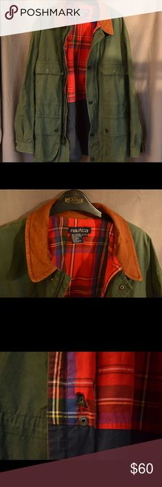 Vintage Canvas OD Green Nautica Jacket, XL This is such a classic! Amazing plaid lining and a contrasting collar that really pops. Don't want to let go of it, but I have so many coats  One small tear as seen in picture, has some age fading on the right sleeve but you can't create that kind of character! Men's size XL Vintage Jackets & Coats Military & Field