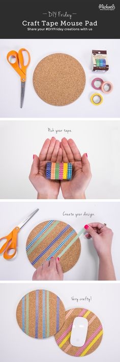 Only 3 steps & 3 supplies to create this DIYFriday Craft Tape Mouse Pad!
