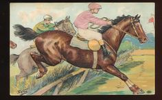 ARTIST SIGNED POSTCARD -EMBOSSED SILK JOCKEY IN HORSE RACE-EARLY 1900's-mmm851