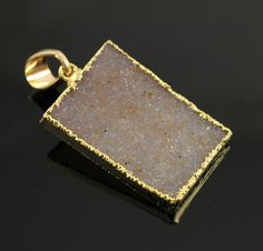 Dazzling Druzy Rectangular Pendant in Stunning Earth Tones, Heavy Gold Plated, 30x21mm, A+ Gorgeous Quality, Electroplated Edge(DZY/PDT/268) by Beadspoint on Etsy