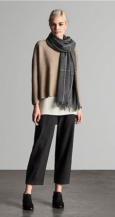 Eileen Fisher Undyed Cashmere Links Box Top, Wool Framework Scarf in Ash, 2016