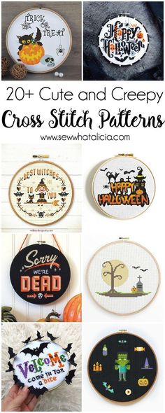 Cute and Creepy Halloween Patterns to Cross Stitch - Sew What, Alicia? Cute and Creepy Halloween Patterns to Cross Stitch : If you are a fanatic about Halloween and you love to cross stitch then you are going to go nuts over these Halloween Cross S Cross Stitching, Cross Stitch Embroidery, Embroidery Patterns, Hand Embroidery, Fall Cross Stitch, Cute Cross Stitch, Cross Stitch Font, Beginner Embroidery, Cross Stitch Designs