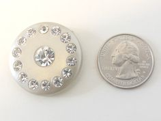 Vintage silver button with circular diamond stud design $6.00 USD  pict 2
