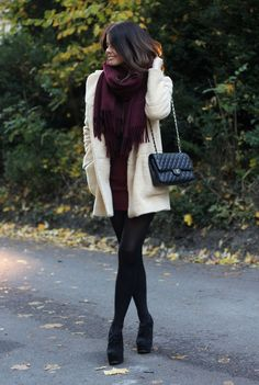 burgundy scarf with an oversize sweater