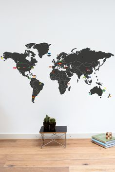 The worldmap for your wall with a set of very awesome stickers to highlight your favorite spots around the world!