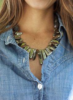 Denim + Natural Necklaces. Pretty.
