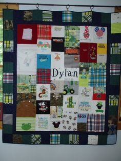 CUSTOM ORDER for quilts made from your baby clothes personalize with name, birth date and photos  by BarbMalmTshirtQuilts on Etsy