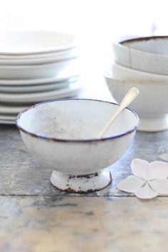 Blue and White French Enamelware Cafe Au Lait Bowl