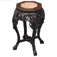 Chinese Octagonal Marble Top Plant Stand - Antiques Atlas Antique Chinese Furniture, Vine Leaves, Marble Top, Hardwood, Victorian, Carving, Passion, Antiques, Plants