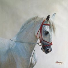 Commission hand paint horse portrait oil painting on canvas