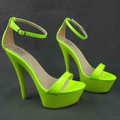 Latest Trend! Neon color strappy high platform heel sandals,Has leather material and rubber outsole and approx 6 inches heel high and 2 inches platform high.  #platformheel #straphighheelsandals