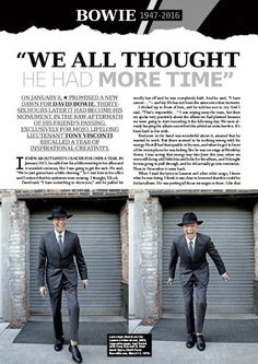 """David Bowie: """"We All Thought He Had More Time"""" by Tony Visconti in MOJO March 2016"""