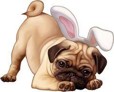 Baby Animal Drawings, Cute Drawings, Cartoon Dog, Cute Cartoon, Baby Animals, Cute Animals, Baby Pugs, Pug Art, Jolie Photo