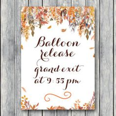 Custom Fall Autum Wedding Balloon Release Sign-Grand Exit Balloon Sign