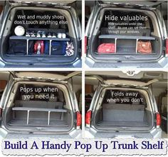 Build A Handy Pop Up Trunk Shelf, Build A Handy Pop Up Trunk Shelf Great. Car  StorageStorage IdeasCar ...