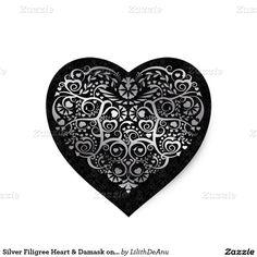 Silver Filigree Heart & Damask on Black Sticker