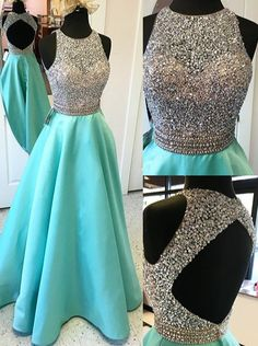 Luxurious A-line Beaded Scoop Long Prom Dress with Open Back Prom Dresses