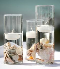 Seashell crafts ideas- hurricane vases with floating candles. Seashell crafts ideas- hurricane vases with floating candles. Seashell Crafts, Beach Crafts, Summer Crafts, Seashell Projects, Driftwood Projects, Diy Crafts, Driftwood Art, Yarn Crafts, Wood Crafts
