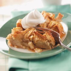 Caramel Apple Bread Pudding Recipe -Tender, sweet pudding with delicious apple pieces, spices and a luscious low-fat caramel topping make a rich-tasting comfort dish without all the fat. Yum! —Michelle Borland, Peoria, Illinois