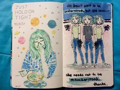 Art journal of murph/emily | 17 | she/her if a blog can be described as a conglomerate then that's what my blog is,... #Art #journal #sketchbook art journal p. 61 and 62
