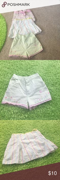 Lot of girls skorts and shorts Cute lot of pink camouflage skort by Sonoma like new, 1 mint green shorts by Kids headquarters and 1 striped skort by bunny business. All size 4 kids headquarters, sonoma etc Bottoms Skorts