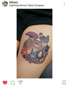Studio Ghibli tattoo #studioghibli #totoro #howlsmovingcastle #princessmonomoke #ponyo #spiritedaway #kikisdeliveryservice #kawaii #tattoos