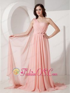 New Baby Pink Empire Evening Dress One Shoulder Chiffon Appliques Watteau Train  http://www.fashionos.com  Simple dresses can leave lasting impressions. The design, usually, is all in the detail. It features a oneshoulder bodice with a intricately rosette accent bands across the mid-section. The bodice also has a nice wrapped texture that adds even more detail. The skirt has an empire waist and is lightweight.