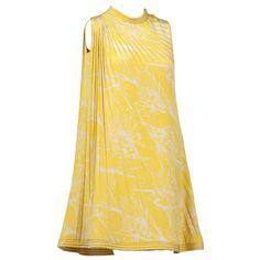 Pierre Cardin Haute Couture Pleated Silk Abstract Print Mini Dress c.1968