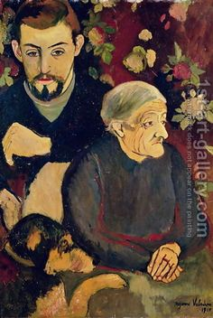 Suzanne Valadon:Portrait of Maurice Utrillo (1883-1955), his Grandmother and his Dog, 1910