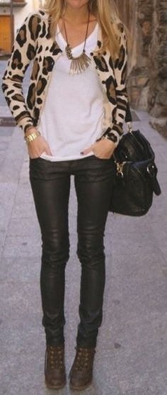 Leopard and leather leggings