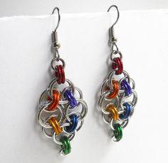 Gay Pride earrings Rainbow Chainmaille Helm weave #dteam