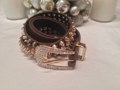 GET 1 DAY SHIPPING! Brown  Leather Studded Belt - Rhinestones - Fashion - On Sale  - FREE SHIPPING #buy #shop #deal