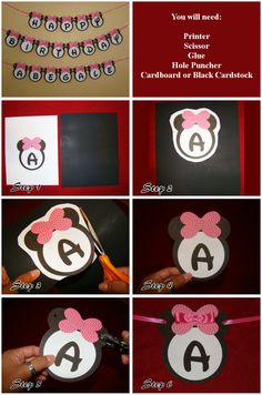 DIY Minnie Mouse Birthday Banner  I can do this with construction paper