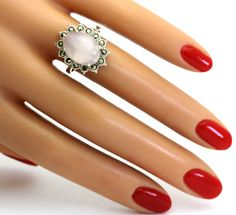 Vintage Oval-Cut Polished Rose Quartz w/ Marcasite Accents Sterling Silver Ring