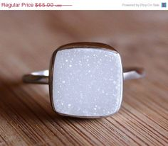 MOTHERS DAY SALE White Druzy Gemstone Ring - Cushion Cut - Sterling Silver
