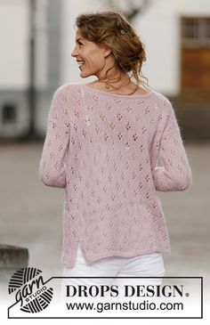 """Knitted DROPS jumper with lace pattern and vent in """"Alpaca"""" and """"Kid-Silk"""". Size: S - XXXL. Unicorn Knitting Pattern, Lace Knitting Patterns, Free Knitting, Baby Knitting, Finger Knitting, Scarf Patterns, Knitting Machine, Drops Design, Crochet Winter"""