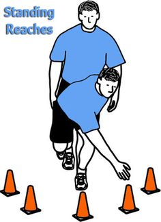 balance and core....reach for each cone, then change legs, and repeat - do 3 times on each leg.